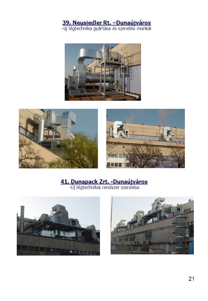 21 39, Neusiedler Rt.–Dunaújváros -új légtechnika gyártása és szerelési munkái 41, Dunapack Zrt.