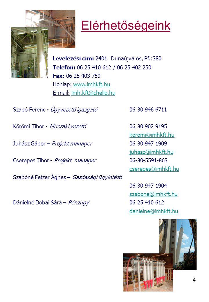 4 Elérhetőségeink Levelezési cím: 2401. Dunaújváros, Pf.:380 Telefon: 06 25 410 612 / 06 25 402 250 Fax: 06 25 403 759 Honlap: www.imhkft.huwww.imhkft