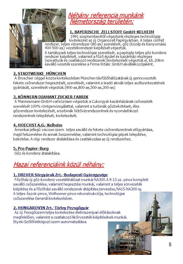 5 Néhány referencia munkánk Németország területén: Néhány referencia munkánk Németország területén: 1, BAYERISCHE ZELLSTOFF GmbH-KELHEIM 1991 szeptemberétől végeztünk részleges technológiai kivitelezést az új Organocell Papírgyárban.