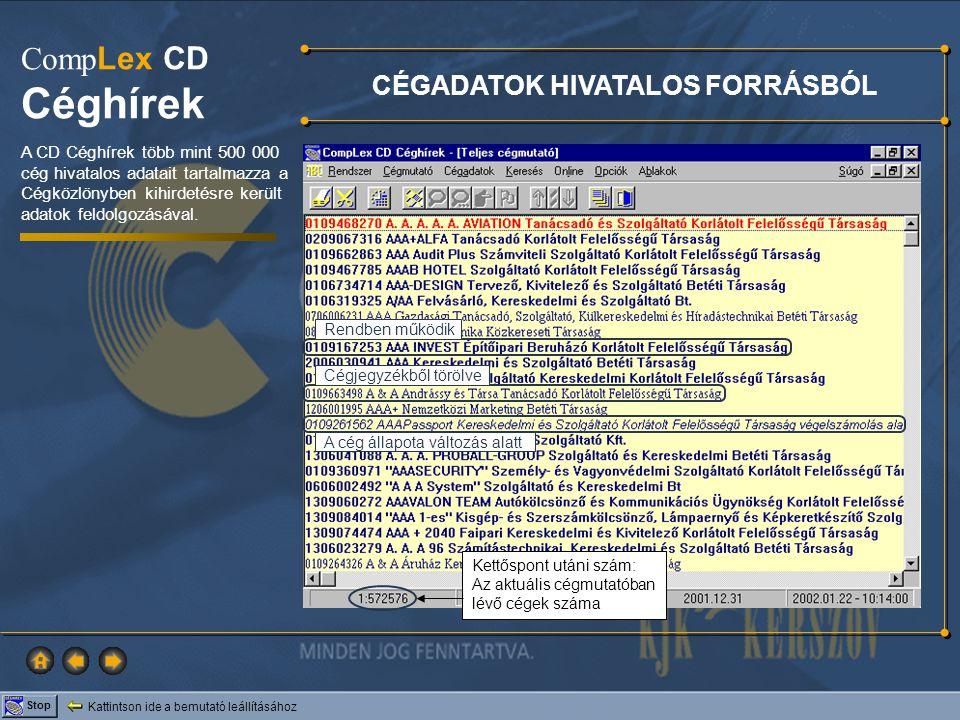 Kattintson ide a bemutató leállításához Stop Comp Lex CD Céghírek CÉGADATOK HIVATALOS FORRÁSBÓL A CD Céghírek több mint 500 000 cég hivatalos adatait