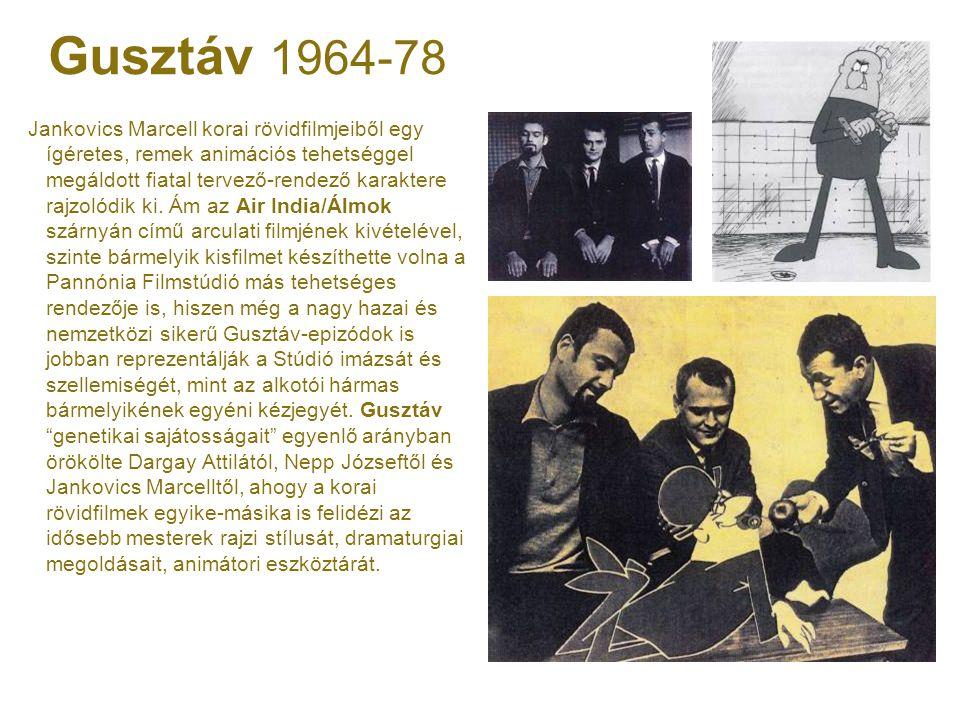 Gusztáv 1964-78 Jankovics Marcell korai rövidfilmjeiből egy ígéretes, remek animációs tehetséggel megáldott fiatal tervező-rendező karaktere rajzolódi