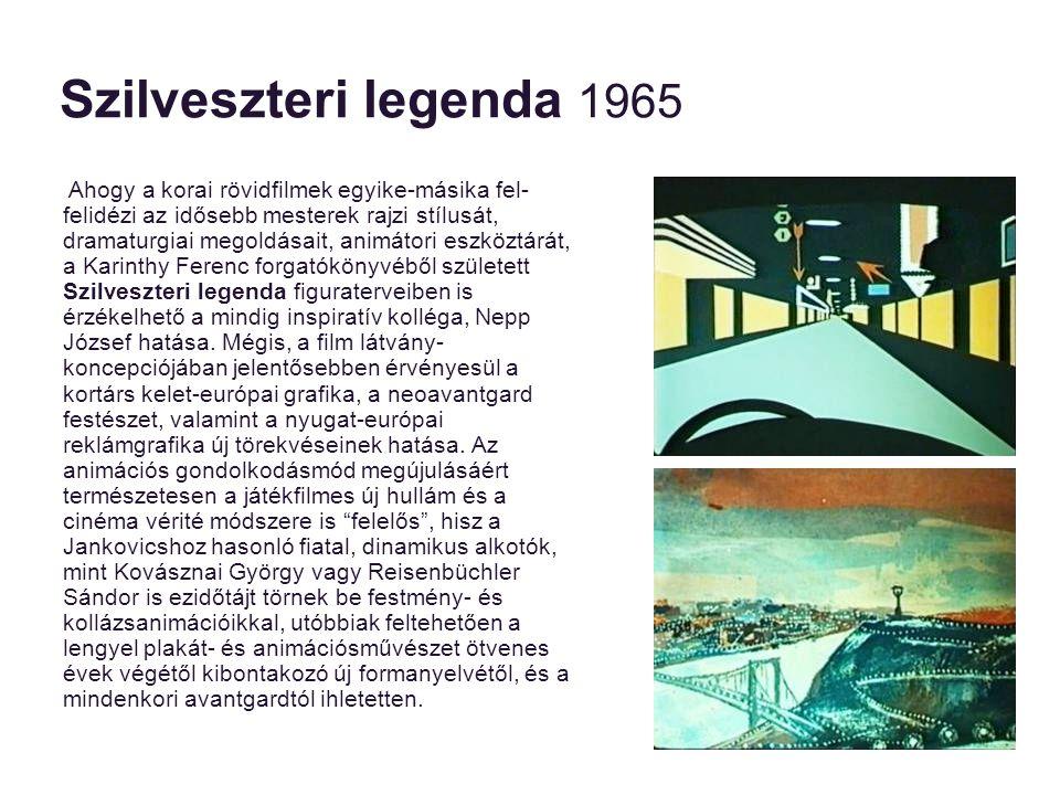 Szilveszteri legenda 1965 Jankovics Marcell, lévén kiváló animátor, és eredendően virtuóz grafikus, a formabontást nem az animáció technikájában követi el .