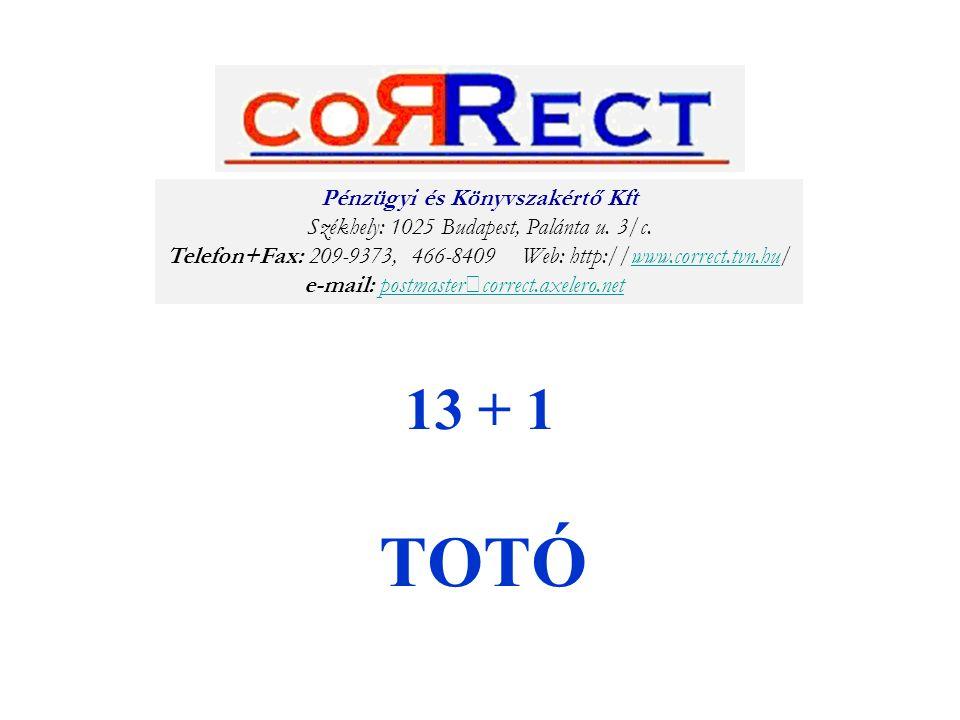 13 + 1 TOTÓ Pénzügyi és Könyvszakértő Kft Székhely: 1025 Budapest, Palánta u. 3/c. Telefon+Fax: 209-9373, 466-8409 Web: http://www.correct.tvn.hu/www.
