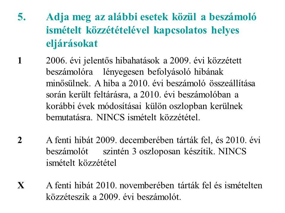 5. Adja meg az alábbi esetek közül a beszámoló ismételt közzétételével kapcsolatos helyes eljárásokat 1 2006. évi jelentős hibahatások a 2009. évi köz