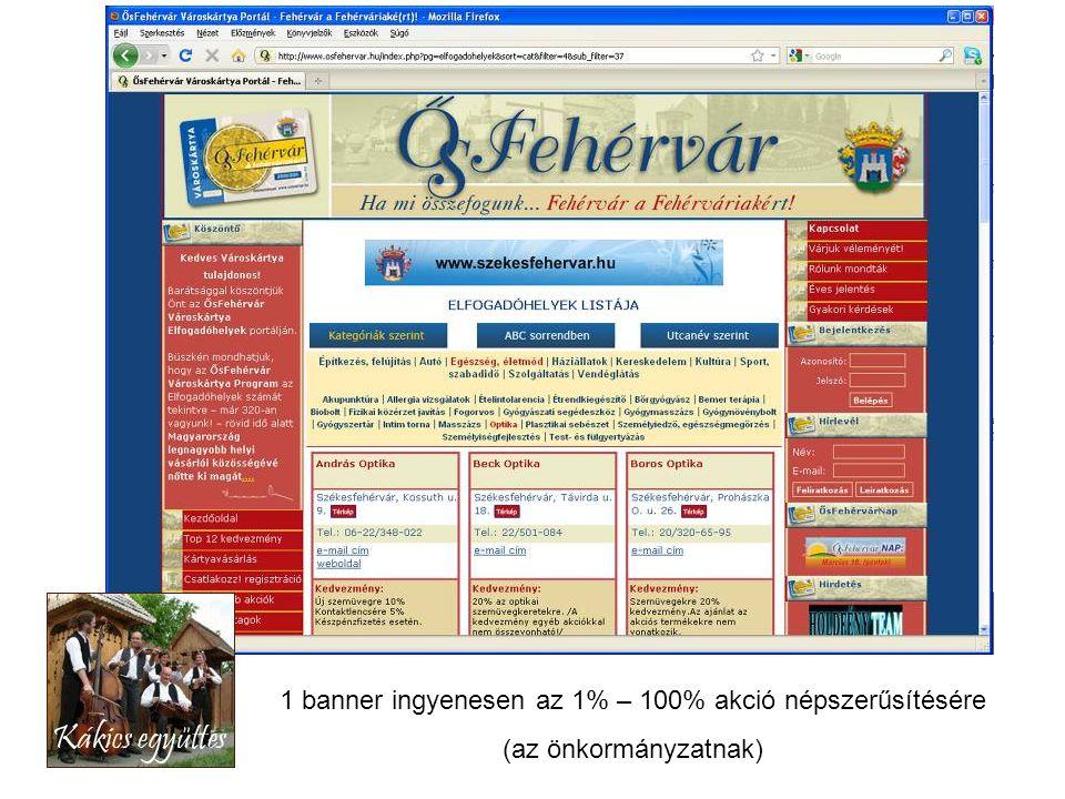 1 banner ingyenesen az 1% – 100% akció népszerűsítésére (az önkormányzatnak)