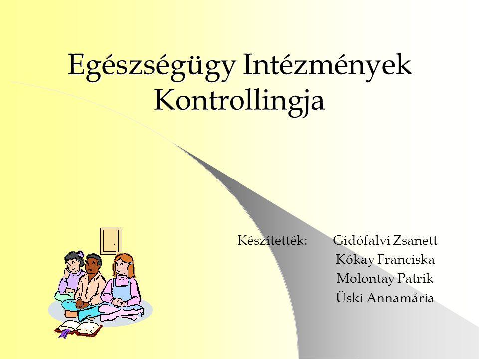 Egészségügy Intézmények Kontrollingja Készítették:Gidófalvi Zsanett Kókay Franciska Molontay Patrik Üski Annamária