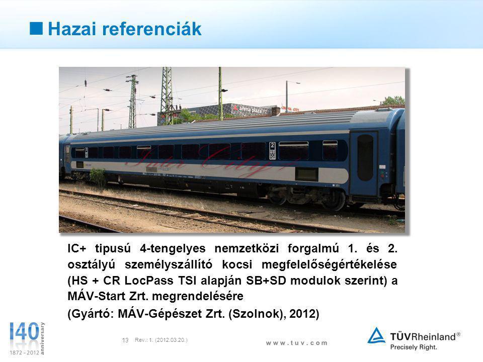 w w w. t u v. c o m Rev.: 1. (2012.03.20.) 13  Hazai referenciák IC+ tipusú 4-tengelyes nemzetközi forgalmú 1. és 2. osztályú személyszállító kocsi m