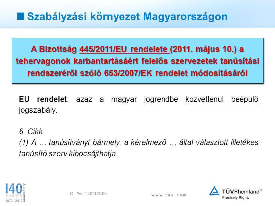 w w w. t u v. c o m Rev.: 1. (2012.03.20.) 19  Szabályzási környezet Magyarországon A Bizottság 445/2011/EU rendelete (2011. május 10.) a tehervagono