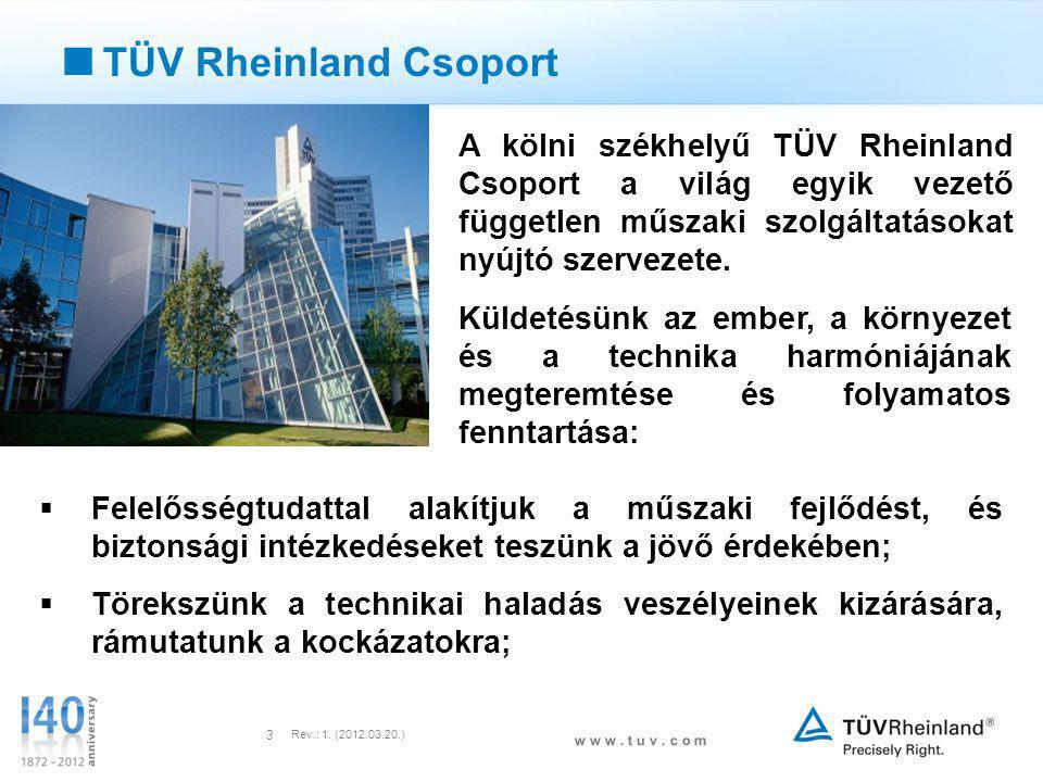 w w w. t u v. c o m Rev.: 1. (2012.03.20.) 3  TÜV Rheinland Csoport A kölni székhelyű TÜV Rheinland Csoport a világ egyik vezető független műszaki sz
