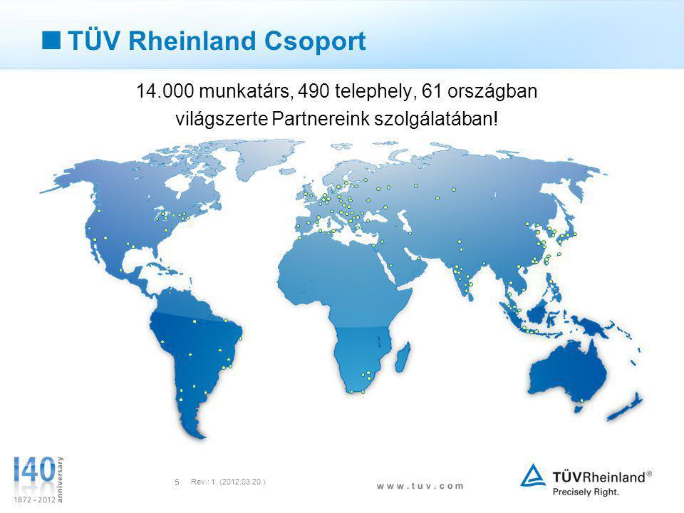 w w w. t u v. c o m Rev.: 1. (2012.03.20.) 5  TÜV Rheinland Csoport 14.000 munkatárs, 490 telephely, 61 országban világszerte Partnereink szolgálatáb