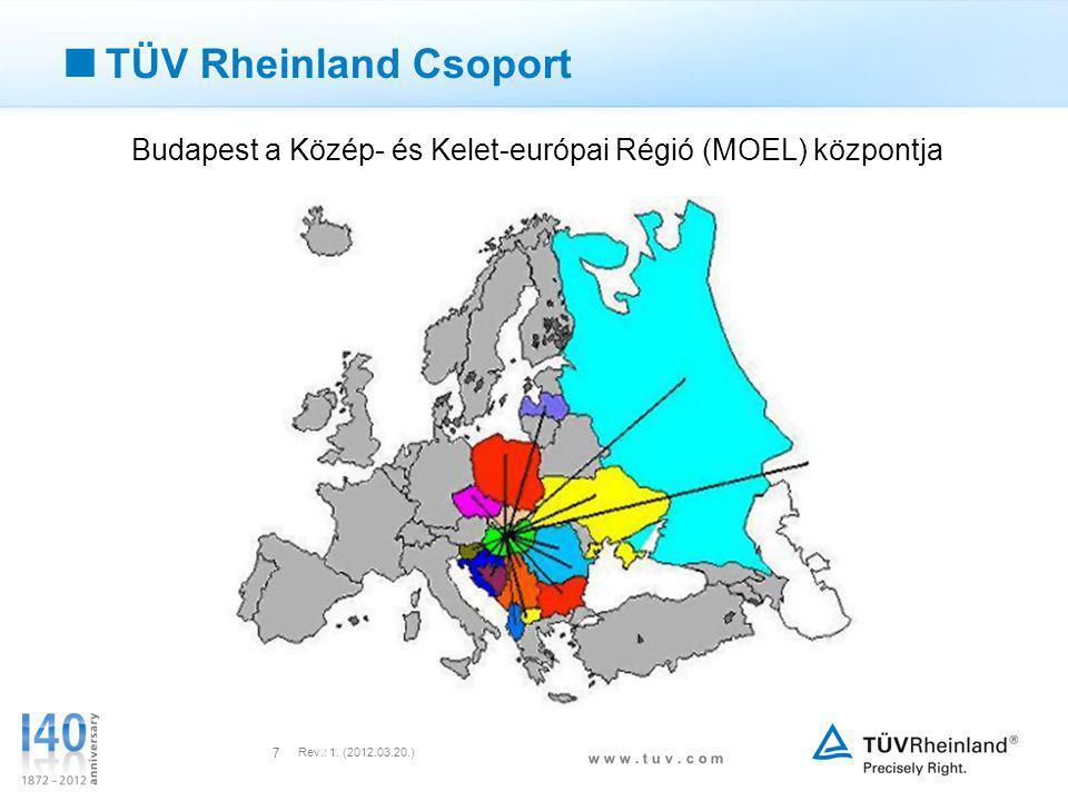 w w w. t u v. c o m Rev.: 1. (2012.03.20.) 7  TÜV Rheinland Csoport Budapest a Közép- és Kelet-európai Régió (MOEL) központja