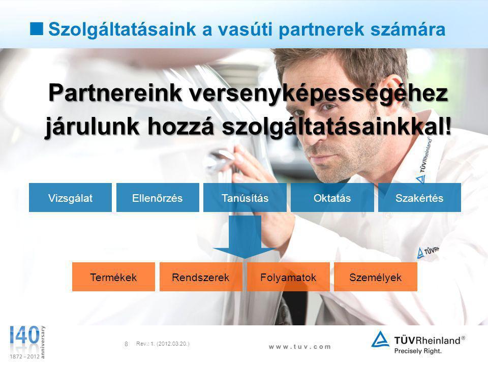 w w w. t u v. c o m Rev.: 1. (2012.03.20.) 8 Partnereink versenyképességéhez járulunk hozzá szolgáltatásainkkal! Partnereink versenyképességéhez járul