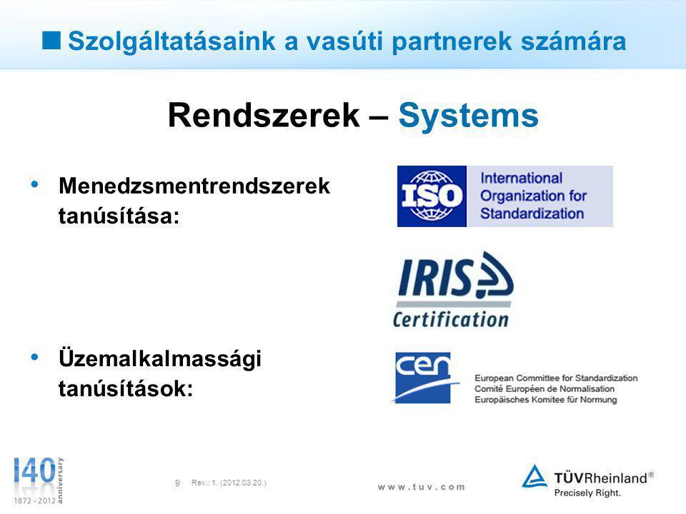 w w w. t u v. c o m Rev.: 1. (2012.03.20.) 9  Szolgáltatásaink a vasúti partnerek számára Rendszerek – Systems • Menedzsmentrendszerek tanúsítása: •