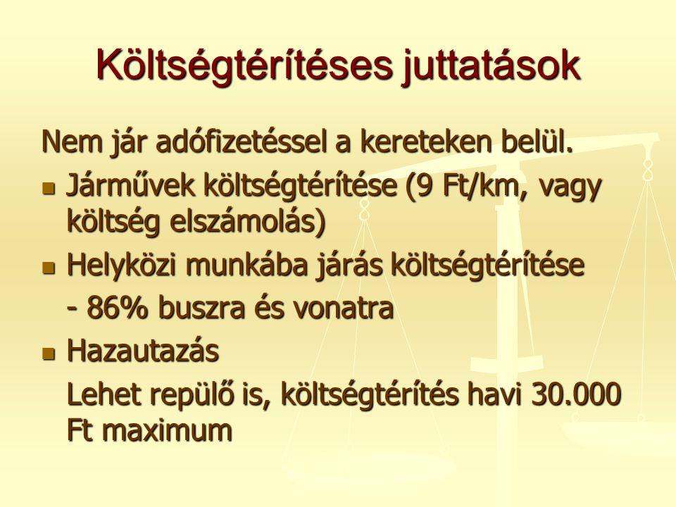 Költségtérítéses juttatások Nem jár adófizetéssel a kereteken belül.  Járművek költségtérítése (9 Ft/km, vagy költség elszámolás)  Helyközi munkába
