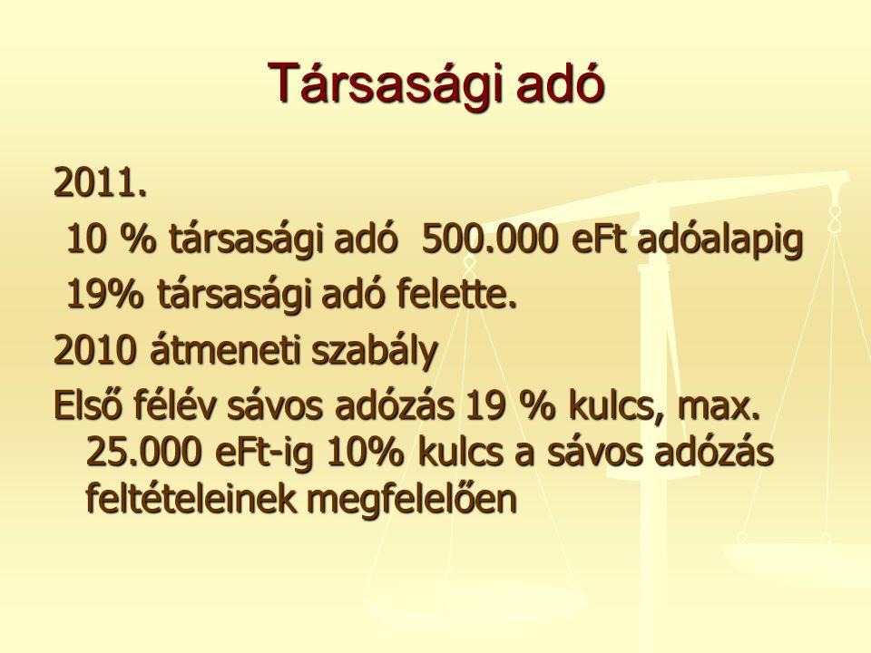 Társasági adó 2011. 10 % társasági adó 500.000 eFt adóalapig 10 % társasági adó 500.000 eFt adóalapig 19% társasági adó felette. 19% társasági adó fel
