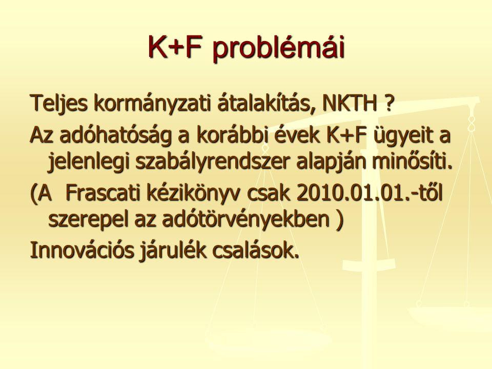 K+F problémái Teljes kormányzati átalakítás, NKTH ? Az adóhatóság a korábbi évek K+F ügyeit a jelenlegi szabályrendszer alapján minősíti. (A Frascati