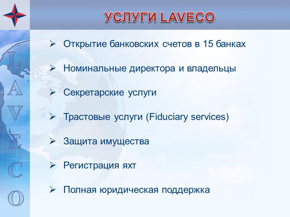  Открытие банковских счетов в 15 банках  Номинальные директора и владельцы  Секретарские услуги  Трастовые услуги (Fiduciary services)  Защита им