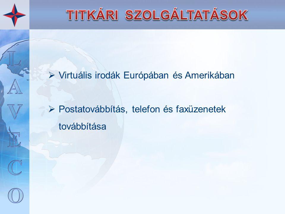 Virtuális irodák Európában és Amerikában  Postatovábbítás, telefon és faxüzenetek továbbítása