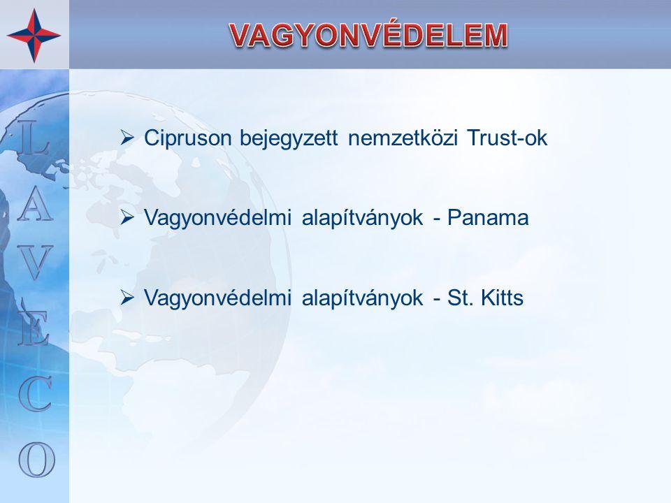  Cipruson bejegyzett nemzetközi Trust-ok  Vagyonvédelmi alapítványok - Panama  Vagyonvédelmi alapítványok - St. Kitts