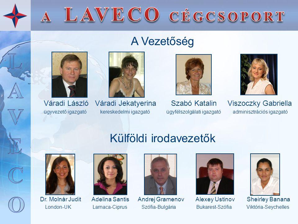 A Vezetőség Váradi László Váradi Jekatyerina Szabó Katalin Viszoczky Gabriella ügyvezető igazgató kereskedelmi igazgató ügyfélszolgálati igazgató admi