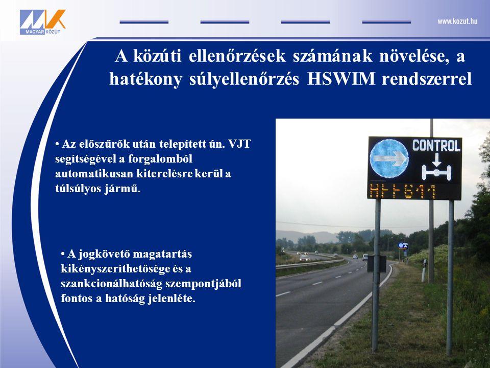 A közúti ellenőrzések számának növelése, a hatékony súlyellenőrzés HSWIM rendszerrel • A jogkövető magatartás kikényszeríthetősége és a szankcionálhatóság szempontjából fontos a hatóság jelenléte.