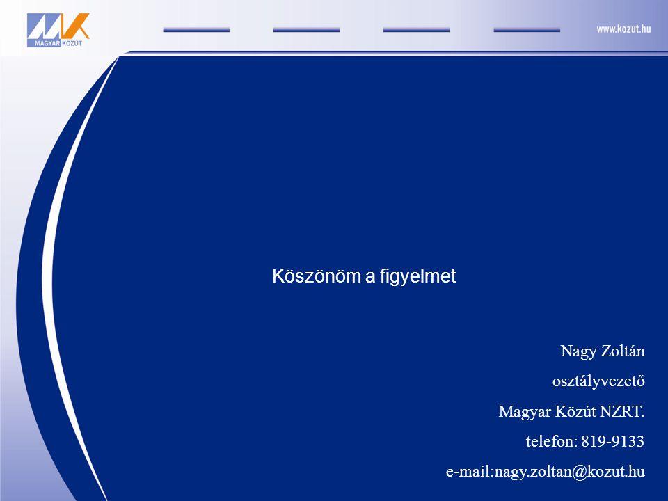 Nagy Zoltán osztályvezető Magyar Közút NZRT. telefon: 819-9133 e-mail:nagy.zoltan@kozut.hu Köszönöm a figyelmet