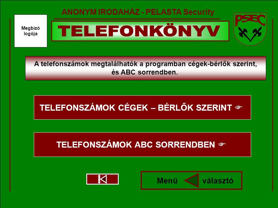 Megbízó logója ANONYM IRODAHÁZ - PELASTA Security A telefonszámok megtalálhatók a programban cégek-bérlők szerint, és ABC sorrendben.