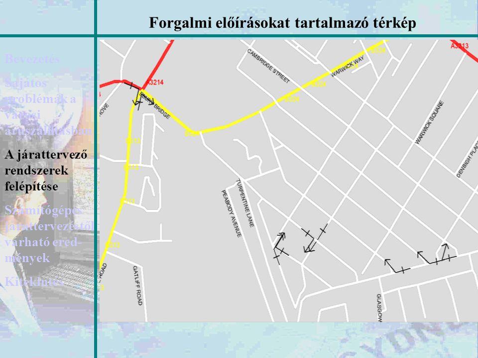 Forgalmi előírásokat tartalmazó térkép Bevezetés Sajátos problémák a városi áruszállításban A járattervező rendszerek felépítése Számítógépes járatter