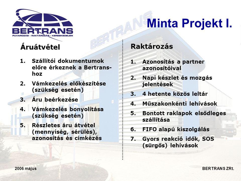 2006 május BERTRANS ZRt. 1.Szállítói dokumentumok előre érkeznek a Bertrans- hoz 2.Vámkezelés előkészítése (szükség esetén) 3.Áru beérkezése 4.Vámkeze