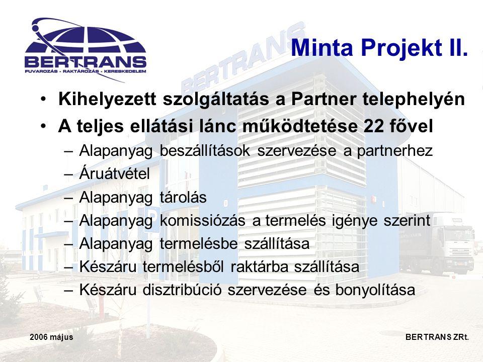 2006 május BERTRANS ZRt. Minta Projekt II. •Kihelyezett szolgáltatás a Partner telephelyén •A teljes ellátási lánc működtetése 22 fővel –Alapanyag bes
