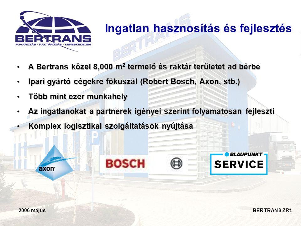 2006 május BERTRANS ZRt. Ingatlan hasznosítás és fejlesztés • A Bertrans közel 8,000 m 2 termelő és raktár területet ad bérbe • Ipari gyártó cégekre f