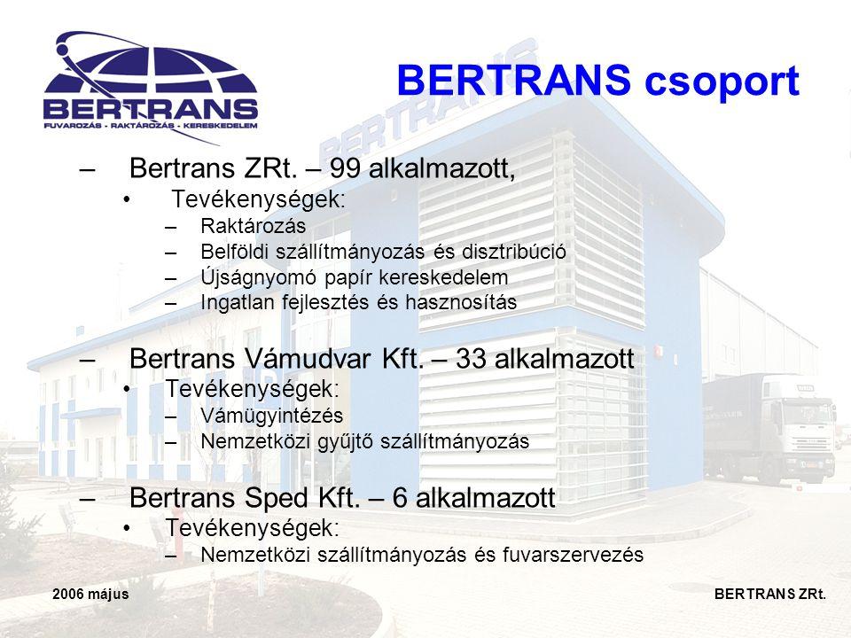 2006 május BERTRANS ZRt. BERTRANS csoport –Bertrans ZRt. – 99 alkalmazott, • Tevékenységek: –Raktározás –Belföldi szállítmányozás és disztribúció –Újs