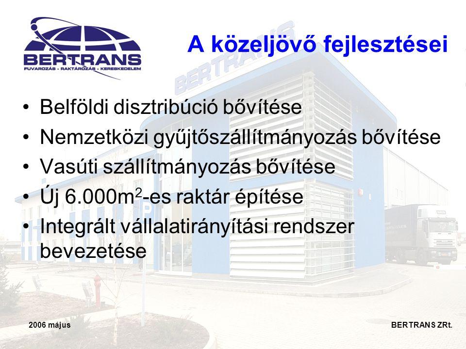 2006 május BERTRANS ZRt. •Belföldi disztribúció bővítése •Nemzetközi gyűjtőszállítmányozás bővítése •Vasúti szállítmányozás bővítése •Új 6.000m 2 -es