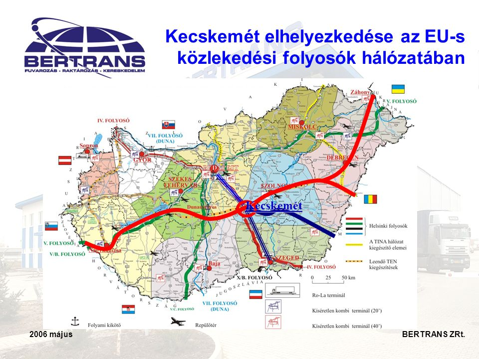 2006 május BERTRANS ZRt. Kecskemét elhelyezkedése az EU-s közlekedési folyosók hálózatában Kecskemét