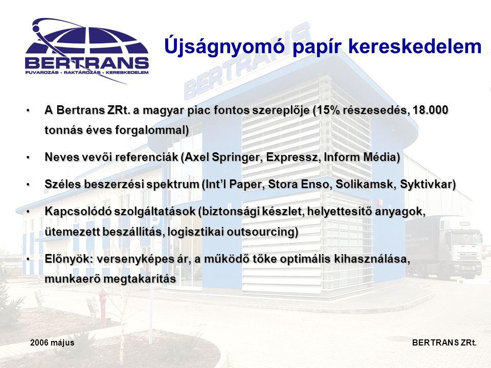 2006 május BERTRANS ZRt. Újságnyomó papír kereskedelem • A Bertrans ZRt. a magyar piac fontos szereplője (15% részesedés, 18.000 tonnás éves forgalomm