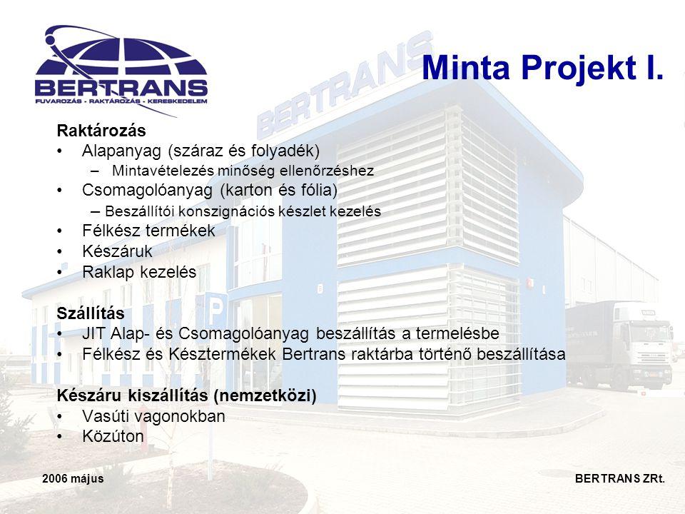 2006 május BERTRANS ZRt. Minta Projekt I. Raktározás •Alapanyag (száraz és folyadék) –Mintavételezés minőség ellenőrzéshez •Csomagolóanyag (karton és