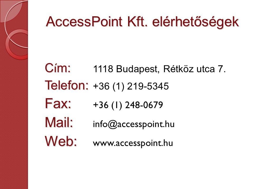 AccessPoint Kft. elérhetőségek C í m: C í m: 1118 Budapest, Rétköz utca 7.