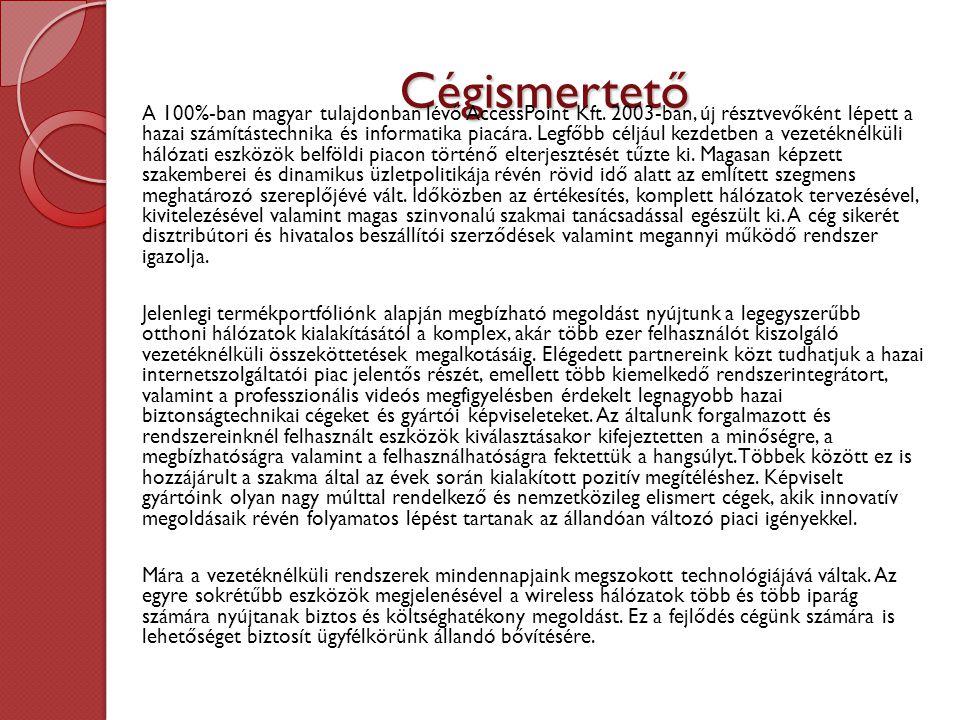 Cégismertető A 100%-ban magyar tulajdonban lévő AccessPoint Kft.