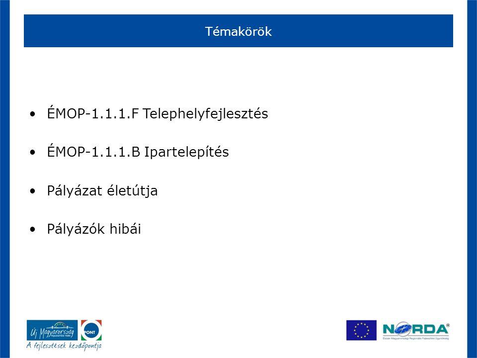 Témakörök •ÉMOP-1.1.1.F Telephelyfejlesztés •ÉMOP-1.1.1.B Ipartelepítés •Pályázat életútja •Pályázók hibái