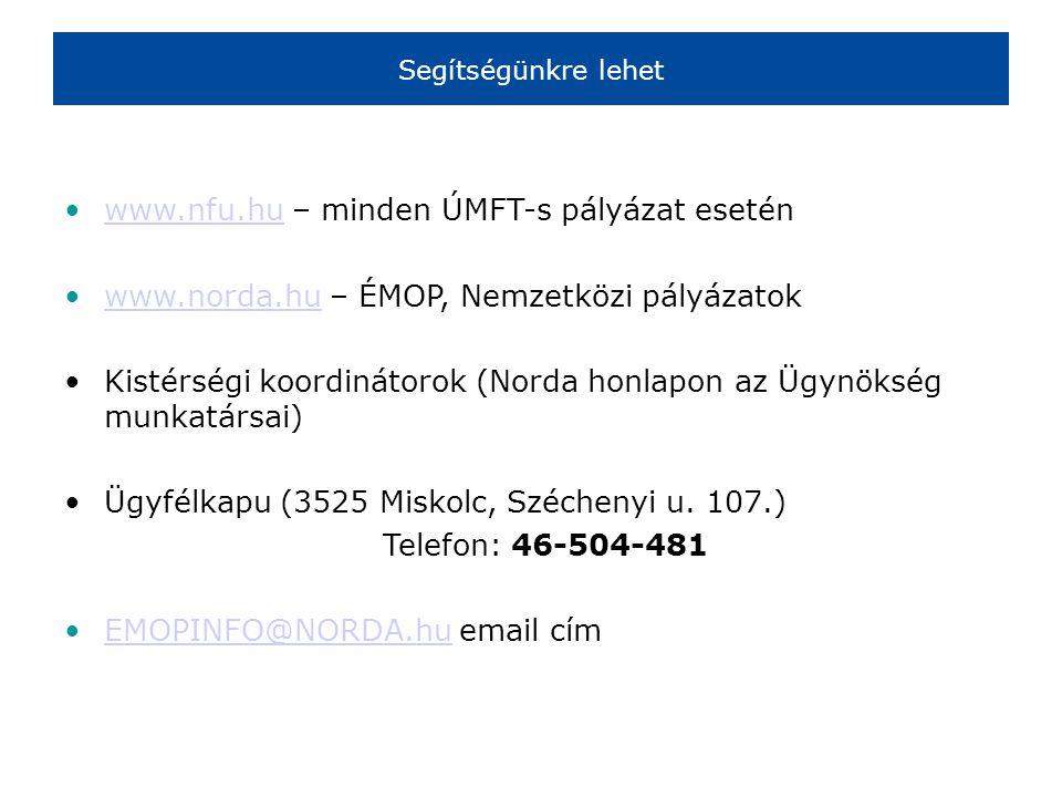 Segítségünkre lehet •www.nfu.hu – minden ÚMFT-s pályázat eseténwww.nfu.hu •www.norda.hu – ÉMOP, Nemzetközi pályázatokwww.norda.hu •Kistérségi koordinátorok (Norda honlapon az Ügynökség munkatársai) •Ügyfélkapu (3525 Miskolc, Széchenyi u.