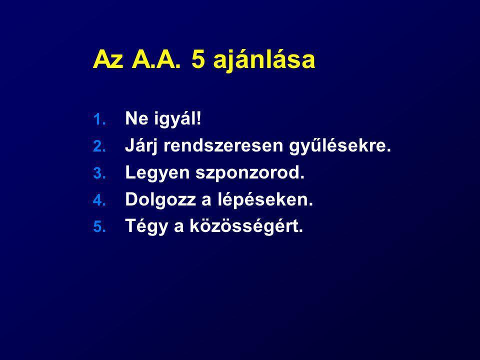 Az A.A. 5 ajánlása 1. Ne igyál! 2. Járj rendszeresen gyűlésekre. 3. Legyen szponzorod. 4. Dolgozz a lépéseken. 5. Tégy a közösségért.