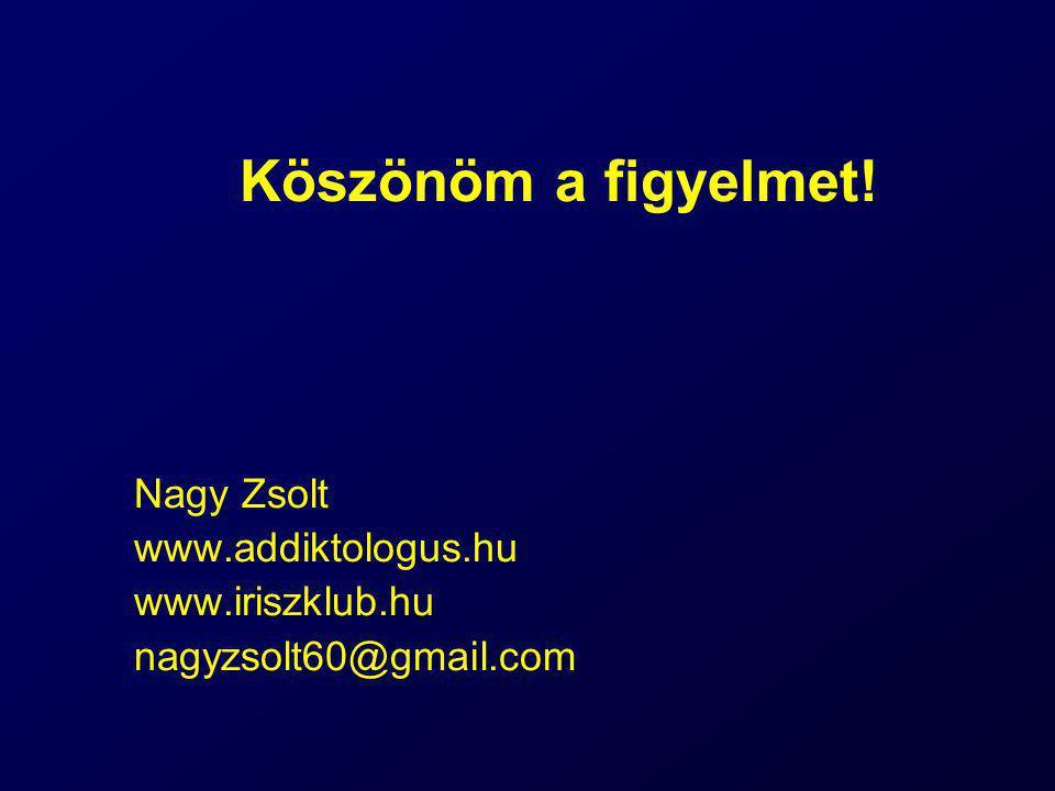 Köszönöm a figyelmet! Nagy Zsolt www.addiktologus.hu www.iriszklub.hu nagyzsolt60@gmail.com