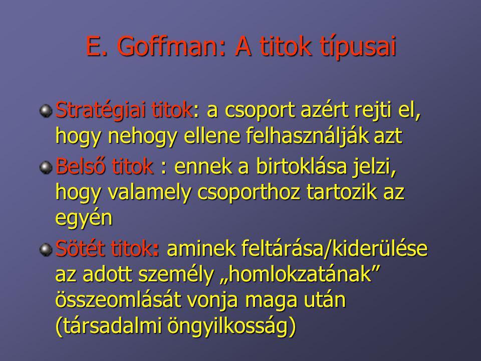 E. Goffman: A titok típusai Stratégiai titok: a csoport azért rejti el, hogy nehogy ellene felhasználják azt Belső titok : ennek a birtoklása jelzi, h