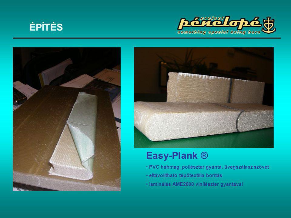 Easy-Plank ® • PVC habmag, poliészter gyanta, üvegszálasz szövet • eltávolítható tépőtextília borítás • laminálás AME2000 vinilészter gyantával ÉPÍTÉS