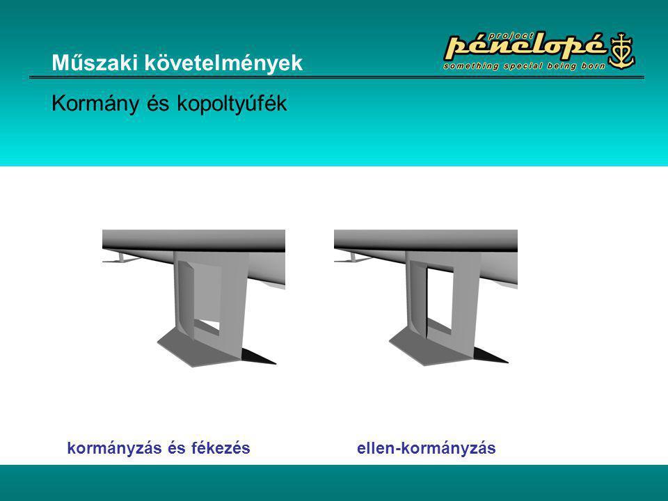 Műszaki követelmények Kormány és kopoltyúfék kormányzás és fékezés ellen-kormányzás