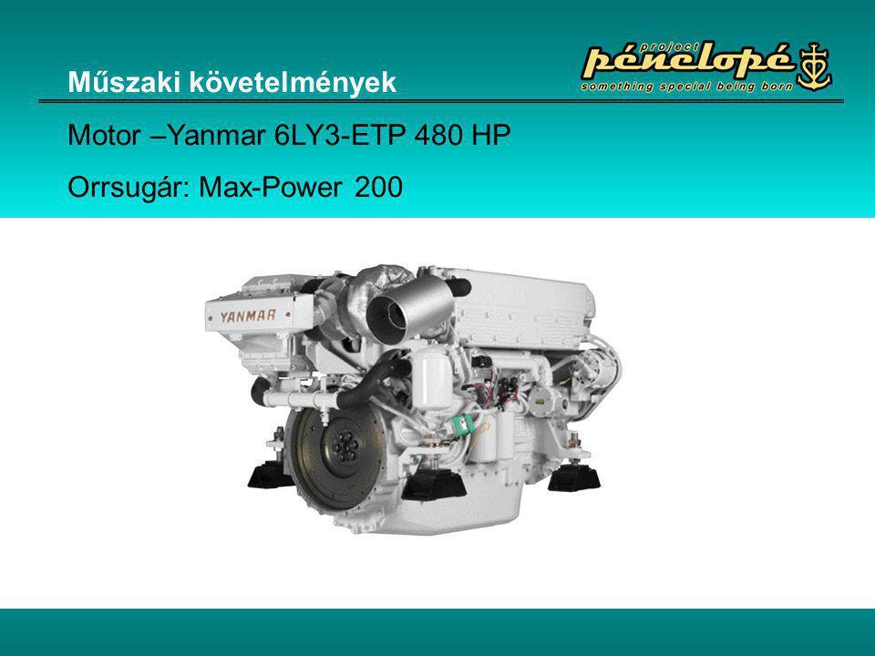 Műszaki követelmények Motor –Yanmar 6LY3-ETP 480 HP Orrsugár: Max-Power 200