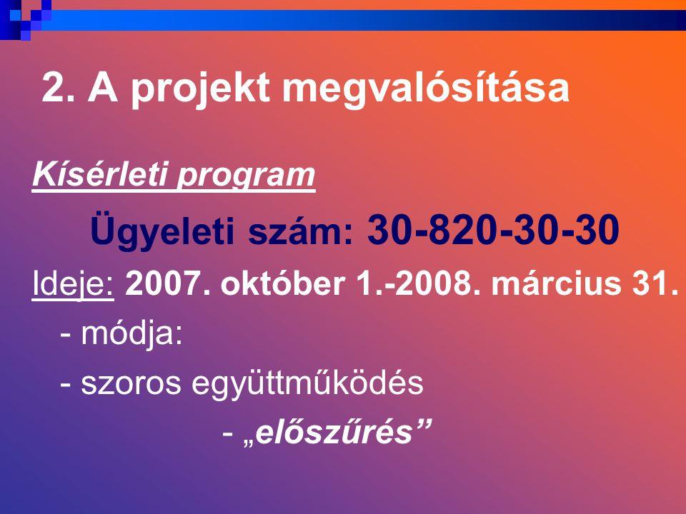2. A projekt megvalósítása Kísérleti program Ügyeleti szám: 30-820-30-30 Ideje: 2007.