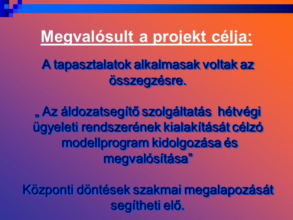 Megvalósult a projekt célja: A tapasztalatok alkalmasak voltak az összegzésre.