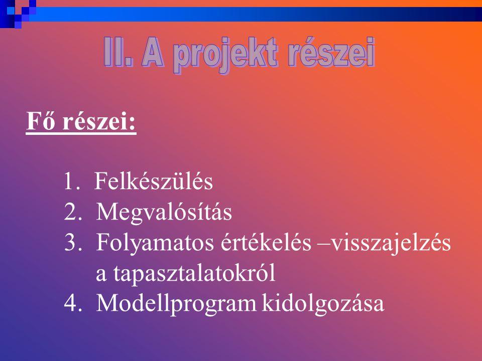 Fő részei: 1. Felkészülés 2. Megvalósítás 3.