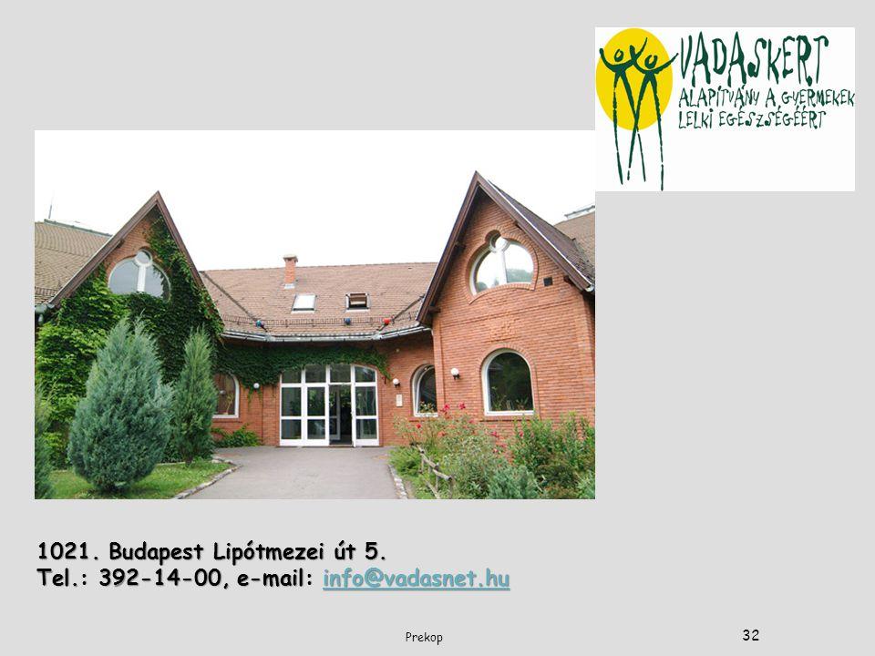 1021. Budapest Lipótmezei út 5. Tel.: 392-14-00, e-mail: info@vadasnet.hu info@vadasnet.hu 32 Prekop